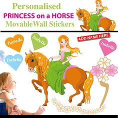 Personalised Princess on a Horse Wall Sticker - Totally Movable Movable Walls, Wall Stickers, Horses, Princess, Kids, Wall Clings, Young Children, Wall Decals, Children