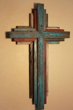 Reclaimed Wood from Oklahoma - 24 Multi Color Cross - Bluish Turquoise primary color Wooden Rustic Cross 24 tall multi color by OkieBudsWorkshop Pallet Crafts, Pallet Art, Wooden Crafts, Reclaimed Wood Projects, Small Wood Projects, Wooden Crosses, Wall Crosses, Rustic Cross, Cross Art