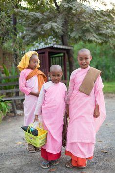 Young Buddhist nuns from Mandalay, Burma