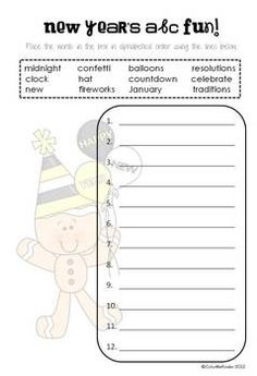 New Year's Fun ABC Order Activity Sheet {Free} from color Me Kinder