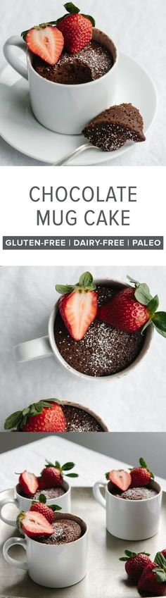 (gluten-free, paleo) A delicious, healthy and moist chocolate mug cake that can be made in less than two minutes - super easy! #Chocolate #MugCake #GlutenFree #DairyFree #Paleo #HealthyRecipes #Dessert