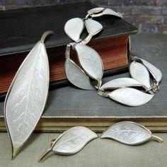 1950's David-Andersen Norway Sterling White Enamel Leaf Set #DavidAndersen
