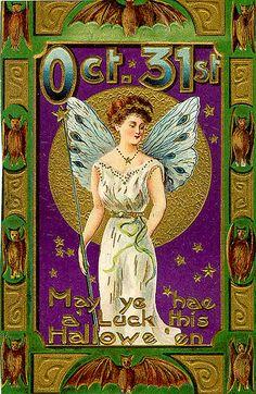 Halloween Fairy—-Vintage Halloween Postcard