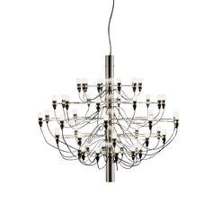 Gino Sarfatti 50 light bulbs in silver frame.