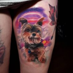 Little Yorkie will you be mine? Tattoo by Tyler Malek. #inked #inkedmag #tattoo #pet #memorial #dog #cute #portrait #tribute #love