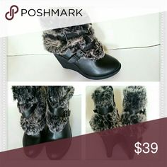 "Baby Phat Faux Fur Wedge Bootie Sz 9 NEW BRAND: Baby Phat STYLE: Demaris HEEL HEIGHT: 3"" & up COLOR: Black SKU: P1B12 Shoes Ankle Boots & Booties"