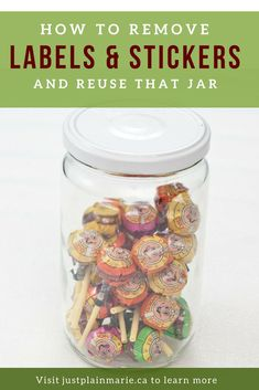 Need to remove labels from bottles or jars that you rescue from the recycling bin or thrift store? It's easy and you don't need an expense label removing solution, either. A simple ingredient from your kitchen will do the job! via @justplainmarie