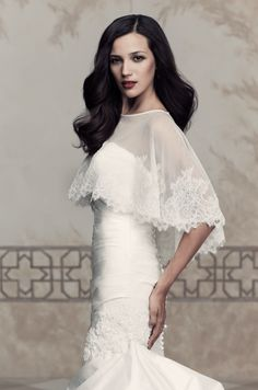 Stretch Net cape with Paloma Re-embroidered lace scallop edging. Style 213 #PalomaBlanca #PalomaCape Paloma Blanca Wedding Cape