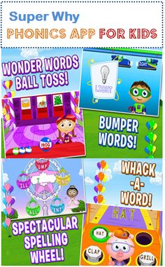 Super Why Phonics App for Kids - Early Literacy App from PBS Kids with games and fun activities for kids Learning Apps, Learning Activities, Kids Learning, Activities For Kids, Teaching Ideas, Early Literacy, Emergent Literacy, Kindergarten Literacy, Super Why