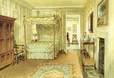 Interior - Ditchley Park - Watercolors by Serebriakoff
