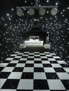 Black starcloth linings, black & white dance floor, zip bar, lighting - all make. Festa All Black, All Black Party, Black White Parties, Black And White Theme, Black And White Party Decorations, Music Party Decorations, Prom Decor, Prom Themes, Dance Themes