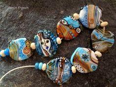 jasmin french winter canyon lampwork beads set sra on ebaycom