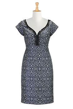 I <3 this Sequined jacquard sheath dress from eShakti