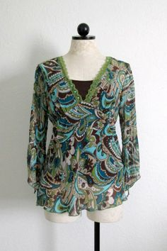 JORDACHE Multi Color Paisley Mod Boho Hippie Top/ Attached Brown Tank- L