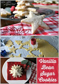Vanilla Bean Sugar Cookies - an elegant sugar cookie flavored with vanilla bean seeds and decorated with a white chocolate glaze and sugar crystals! @kingarthurflour @indiatree @katomrs