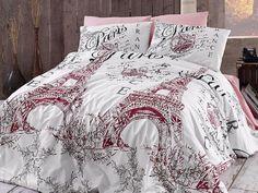 Pink Black White Paris Postmarks Eiffel Tower Themed Duvet Cover Set Bedding Pinterest And