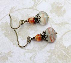 Orange Earrings, Victorian Earrings, Blue Earrings, Antique Gold Earrings…