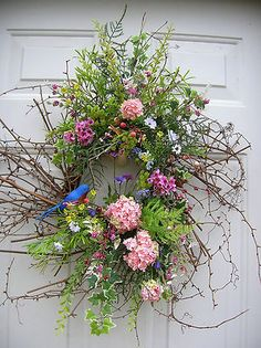 Spring Summer Hydrangeas Bluebird Floral Door Wreath Arrangements | eBay