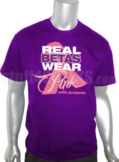 Sigma Lambda Beta Pink Ribbon Breast Cancer Awareness T-Shirt, Purple  Item Id: PRE-SLBPINK-ST  Price:  $39.00