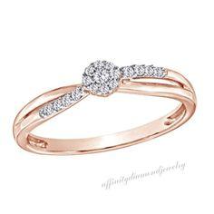 Round Cut 1/10 CT D/VVS1 Diamond 14K Rose Gold Over Cluster Promise Ring $999 #AffinityDiamondJewelry #Cluster #EngagementWeddingAnniversaryMemorialDay