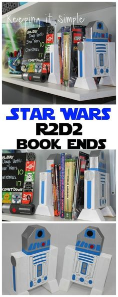 Star Wars bedroom decor idea: 2x4 R2D2 book ends --- Wood and paint for DiY Star Wars bookends