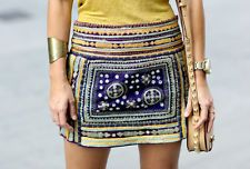 ZARA EMBROIDERED SKIRT WITH MIRROR DETAIL SIZE L LARGE