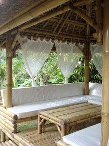 Gazebo en bambou, Pergola en bambou, mobiliers en bambou ...