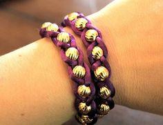 How to make a braided bracelet. Embellished Wrap Bracelets - Step 4