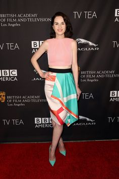 Michelle Dockery in Roland Mouret paired with Christian Louboutin pumps attends the 2014 BAFTA Los Angeles TV Tea Party. #bestdressed
