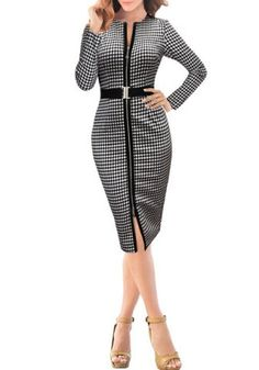 Elegant Round Collar Long Sleeve Black and White Plaid Zippered Women's Dress
