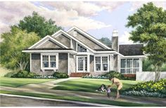 House Plan 57070 - Contemporary, Craftsman Style House Plan with 1504 Sq Ft, 3 Bed, 2 Bath Cottage Floor Plans, Bungalow House Plans, Craftsman Style House Plans, Cottage House Plans, Cottage Homes, House Floor Plans, Cottage Style, Cozy Cottage, Craftsman Ranch