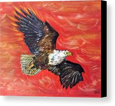 "Freedom to Soar: An acrylic painting of an eagle printed on to premium stretched canvas over a wooden frame by Kelly Goss Art. Delivered ""ready to hang"". Perfect to brighten up and decorate your home. Fit for any wall in any room. The special gift to spice up a friend's home decor. For a lover of animals, African wildlife and bird art."