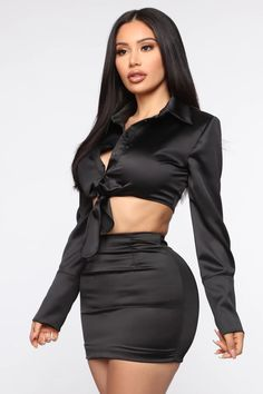 Available In Black And MauveSatin SetLong SleeveButton ShirtCroppedTie FrontMini SkirtHigh Waist Zipper BackLined Polyester SpandexImported Satin Skirt, Satin Dresses, Rompers Women, Jumpsuits For Women, Chic Outfits, Fashion Outfits, Celebrity Style Casual, Fashion Nova Models, Satin Blouses
