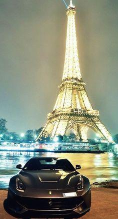 Nice car and Eiffel Tower in Paris via Luxury at www.Facebook.com/Luxury