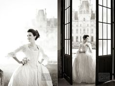 This beautiful bride looks stunning in this Rococo-like wedding dress!