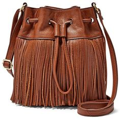 Fossil Jules Mini Fringe Drawstring Satchel Zb6765200 Color: Brown ($148) ❤ liked on Polyvore featuring bags, handbags, satchel handbags, mini satchel handbags, mini purse, brown satchel purse and fossil purses