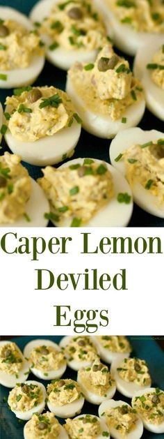 Caper Lemon Deviled Eggs are a tasty appetizer that will WOW your guests! Perfec… Caper Lemon Deviled Eggs are a Devilled Eggs Recipe Best, Best Deviled Eggs, Deviled Eggs Recipe, Food Network, Yummy Appetizers, Appetizer Recipes, Amouse Bouche, Egg Recipes, Cooking Recipes