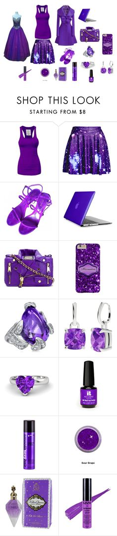 """fairytale violet"" by sopiledstarr ❤ liked on Polyvore featuring beauty, Sergio Rossi, Speck, Moschino, StyleRocks, Gemvara, Red Carpet Manicure, Sexy Hair, NYX and Impression Bridal"