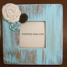 Blue Distressed Frame Flower Picture Frame with Fabric Rosettes. $15.00, via Etsy.