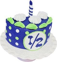 "Handmade 1/2 year birthday Cake Set - 7"" 1/2 whole cake. Felt Cake, Party Decor, Party supply, photo prep, half year birthday, cake, by PinkKittyPrincess on Etsy https://www.etsy.com/listing/465275583/handmade-12-year-birthday-cake-set-7-12"
