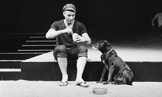 Patrick Stewart and dog in rehearsals for The Two Gentlemen of Verona 1970.