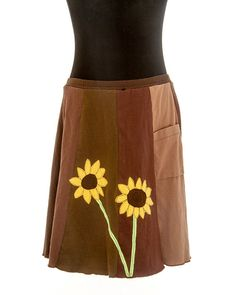 T-Skirt Upcycled, recycled, appliqué brown t-shirt skirt with sunflowers