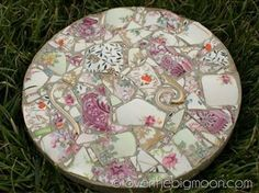 Stepping stone made with broken china