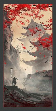 Japan wallpaper - can find Japanese art and more on our website. Japanese Artwork, Japanese Tattoo Art, Japanese Painting, Japanese Art Samurai, Japanese Tattoo Designs, Art In Japanese, Japanese Temple Tattoo, Japanese Nature, Fantasy Landscape