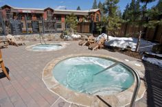 Hot tubs in Catamount Lodge. Complimentary amenity for all guests. #TahoeMountainLodging