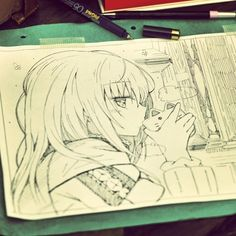 ✮ ANIME ART ✮ anime girl. . .long hair. . .sweater. . .drinking. . .cat mug. . .amazing detail. . .pen. . .ink. . .sketch. . .cute. . .kawaii