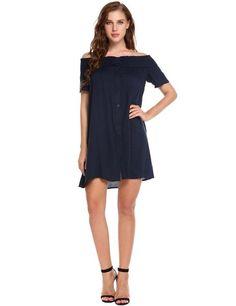 Dark blue Slash Neck Off Shoulder Short Sleeve Solid Button-down Casual  Dress 77312f683384