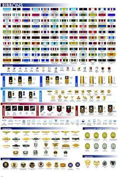 MILITARY FACTS CHART POSTER Ribbons Insignia Badges RARE HOT NEW