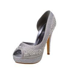 Women's Leatherette Stiletto Heel Peep Toe Platform Pumps Sandals With Imitation Pearl Rhinestone
