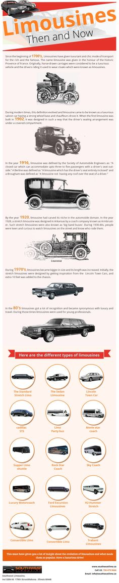 Limousines - Then And Now  #Limousines #Cars #history #infographic